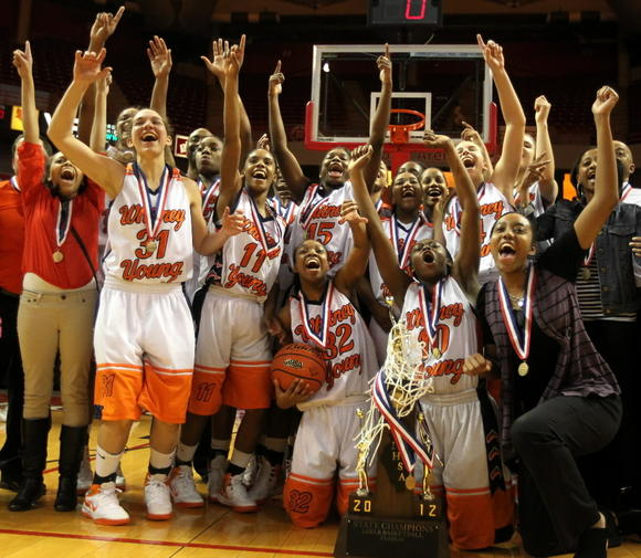 Young girls celebrate their state championship last season.