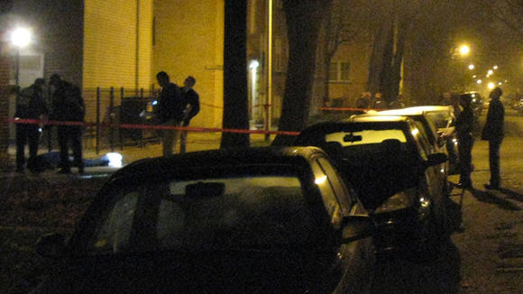 Police at a homicide in Albany Park