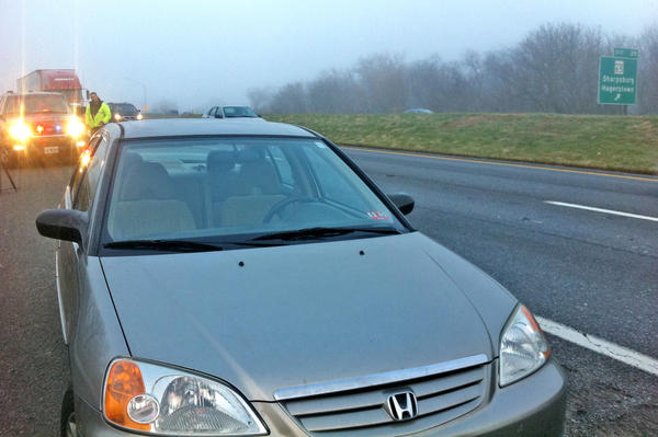 This Honda sedan was involved in a four-vehicle accident Wednesday morning on eastbound Interstate 70 near the Sharpsburg Pike (Md. 65) exit.
