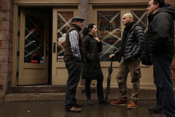 Barbarini restaurant, in the South Street Seaport area of lower Manhattan, was completely flooded by Hurricane Sandy. Co-owners Adriana Luque, second from left, and Stefano Barbagallo, third from left, and 24 other employees are out of work. Chef Antonello Ghessa, far left, has been the chef at Barbarini for the last six years and has twins on the way. He says he will have to find another job. Pastry chef Domenico Panebianco, far right, also worked at the restaurant.