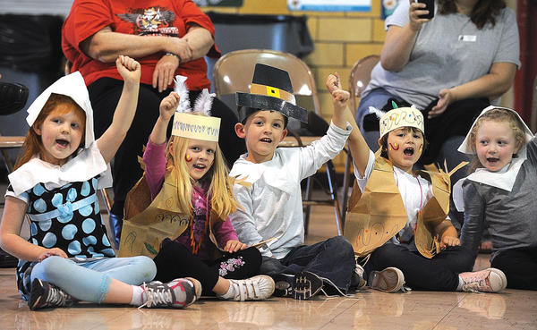 Fannie Bush kindergarten students performed a song for their parents during a Thanksgiving celebration Tuesday, followed by a feast of popcorn and pumpkin bread.