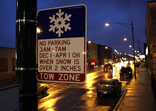 No parking when snow is over 2 inches sign on the 3400 block of South Archer Avenue in Chicago in 2008.