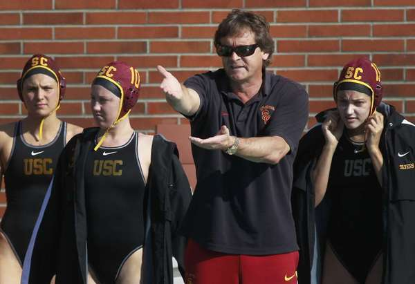 USC water polo coach Jovan Vavic roams the sidelines during a scrimmage against UCLA in 2011.