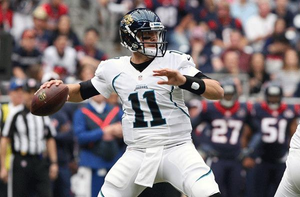 Jacksonville Jaguars quarterback Blaine Gabbert (11) attempts a pass during the first quarter against the Houston Texans at Reliant Stadium.