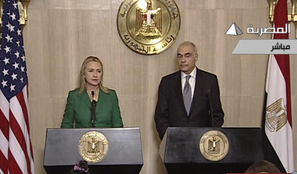 U.S. Secretary of State Hillary Rodham Clinton and Egyptian Foreign Minister Mohamed Amr hold a news conference in Cairo to announce a cease-fire between Israel and Hamas.