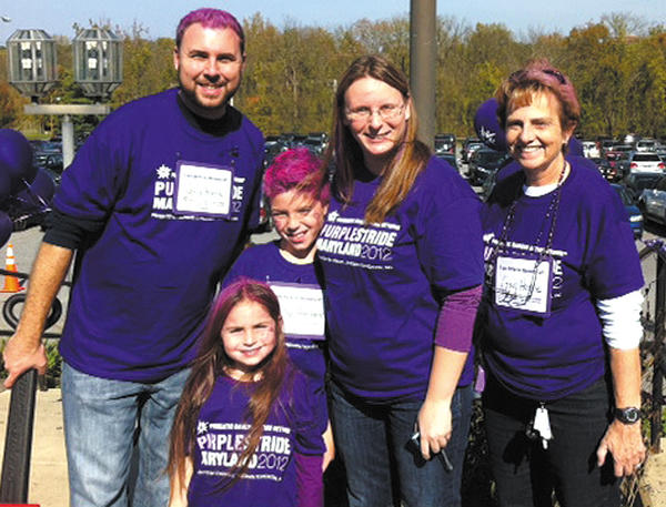The Harne family, from left, Jeff, Jenna, Tyler, Heather and Dee Harne, participated recently in the Purple Stride event in Baltimore to raise awareness for the fight against pancreatic cancer. They walked in memory of Greg Harne, who died from pancreatic cancer in 2010.