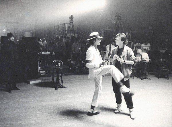 "Michael Jackson and Vincent Paterson on the set of ""Smooth Criminal."""