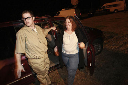 Johnathon Montgomery gets ready to head back to Newport News with his mom Mishia Woodruff  shortly after his release from Greensville Correctional Center Tuesday evening. The first place Montgomery planed to go was to get pizza in Newport News.