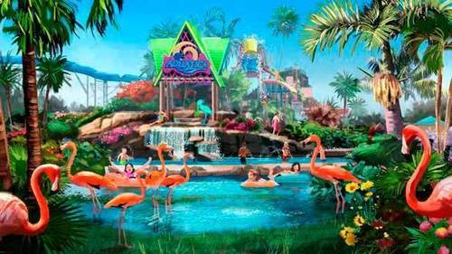While SeaWorld San Diego has yet to announce any planned upgrades, concept art suggests flamingos may be incorporated into the signature animal interaction water slide at the new Aquatica water park.