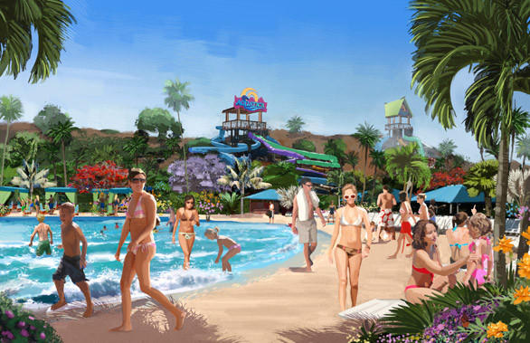 SeaWorld San Diego's new Aquatica water park will feature sunbathing on sandy beaches.