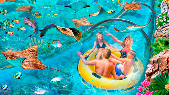 Concept art of the Stingray Falls family raft slide that winds through an underwater grotto past stingrays and tropical fish at SeaWorld San Antonio's Aquatica water park.