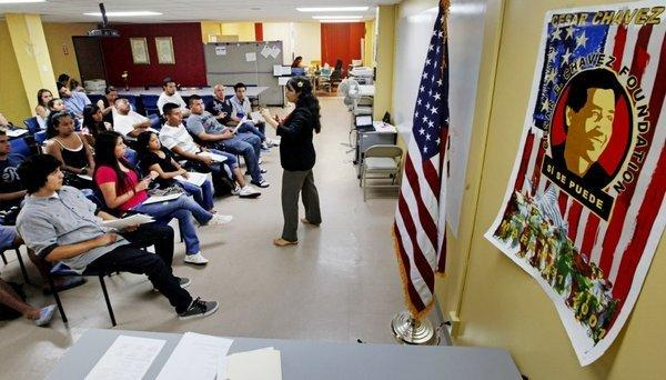 An orientation seminar for illegal immigrants to determine if they qualify for temporary work permits at the Coalition for Humane Immigrant Rights of Los Angeles.