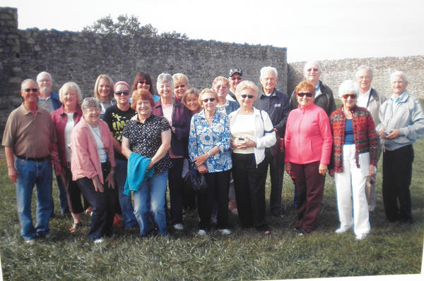 Touring Fort Frederick and representing three generations of genealogists, from left, Ron Avey of North Dakota; Max Avey of Hagerstown; Jeanne Avey, North Dakota; Jeanne Avey of Hagerstown; Leigh Ann Miller of Nebraska; Jessica McConkey of Texas; Deb McConkey of Texas; Cyndi Avey Bock of Nebraska; Shirley Avey Hayes of Texas; Connie Avey of Nebraska; Brenda Stewart of Massachusetts; Helene Avey Cobb Beaver, Massachusetts; Linda Eavey Irvin-Craig of Maugansville; Loren Avey of Nebraska; Wanda Evy Brady of West Virginia; Jim Brady, of West Virginia; Carolyn Evy Parry of Pennsylvania; Larry Eavey of Virginia; Marie Evy Faircloth of Baltimore; Robert Eavey Alley of Virginia and Gerald Eavey of Virginia. Others who were present for parts of the gathering, but not pictured, included: Wendy Avey and John Eavey of Hagerstown; Lee, Pat (Eavey) and Ned Stine of Sharpsburg; and Dion, Ryanna, Aiden and Ian Waugh of Maugansville. The Stine family hosted lunch for the tour at their home along the Potomac River.