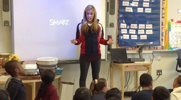 Ashley Wagner speaking to Staten Island third graders Wednesday.  (Courtesy David Baden)