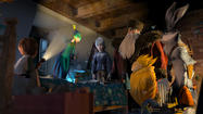 "From left, Jamie (Dakota Goyo) awakens to find the Guardians ¿ Tooth (Isla Fisher), Jack Frost (Chris Pine), North (Alec Baldwin), Sandman and Bunnymund (Hugh Jackman) ¿ in his bedroom in DreamWorks Animation's ""Rise of the Guardians"" released today by Paramount Pictures."