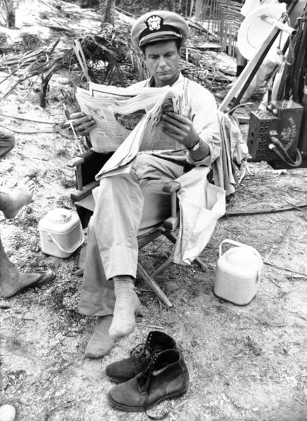 "Cliff Robertson relaxes on the set of ""PT 109"" on location in Florida on Feb. 15, 1963. Robertson portrays Lt. John F. Kennedy."