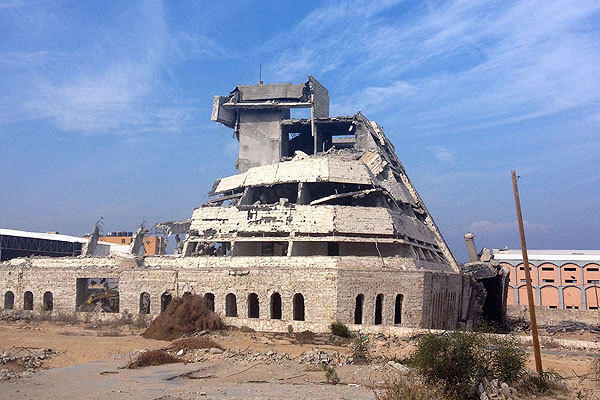 Gaza City's Mukhabarat building, the former home of Fatah's intelligence service, has been bombarded repeatedly by Israel but won't fall down.