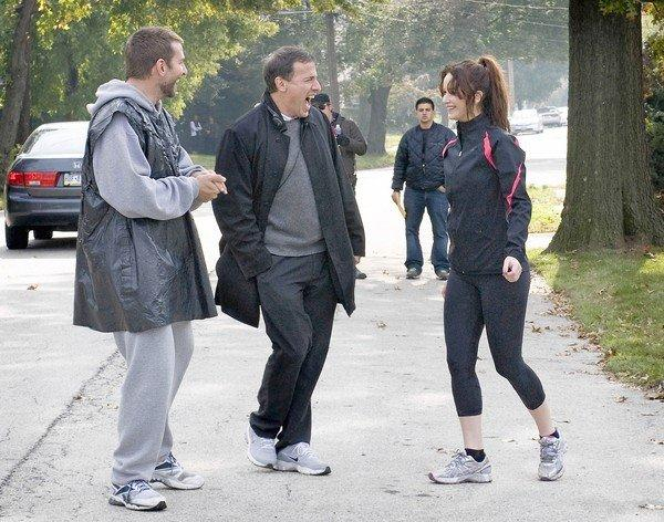 "Bradley Cooper, left, director David O. Russell and Jennifer Lawrence on the set of ""Silver Linings Playbook."""
