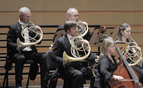 Musicians with period-instruments like these French horns in John Eliot Gardiner's period-instrument orchestra, Orchestre Revolutionnaire et Romantique and Monteverdi Choir at Renee and Henry Segerstrom Concert Hall.