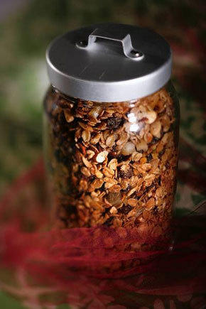 Homemade granola can be packaged for a holiday gift.