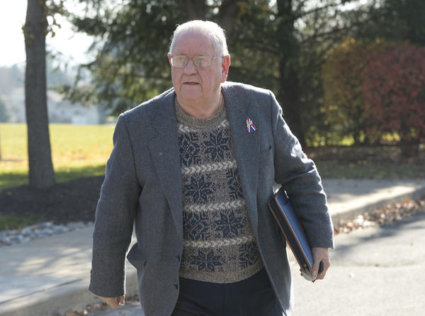 Nazareth borough councilman Larry Stoudt leaves a preliminary hearing in Palmer Township on Wednesday. Stoudt is charged with attempted obstruction by state police.