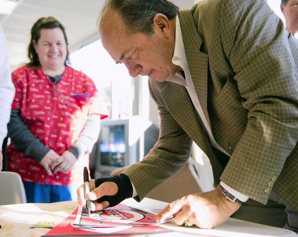 Hall of Fame baseball player Johnny Bench tours the LifePath facility in Bethlehem on Wednesday November 21, 2012.