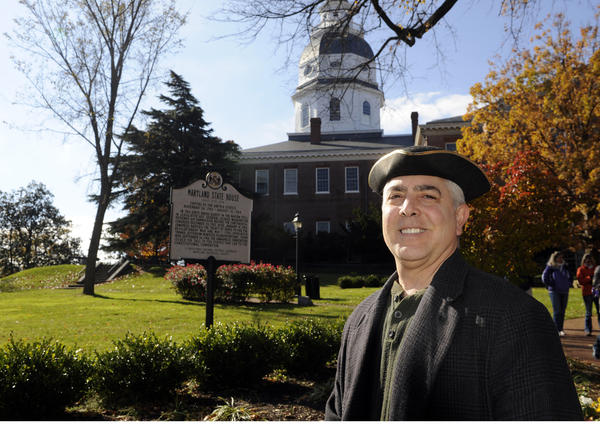 Mark Croatti, director of the Annapolis Continental Congress Society, stands outside the State House.