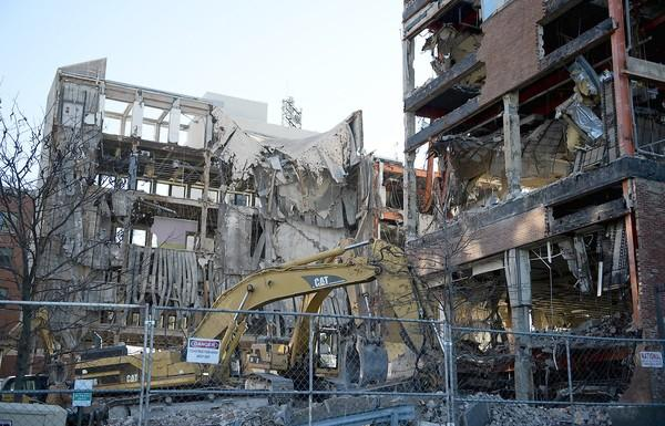 Demolition continues on the former First National Bank on the corner of 7th and Hamilton Streets in Allentown.