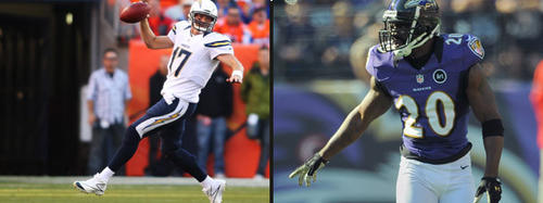 Rivers has lit up the Ravens secondary in the past because Reed is undisciplined and fails to protect the deep third of the field. The Chargers don't have much of an offensive line, so Rivers doesn't hesitate throwing deep and tossing the ball around. He has thrown for 17 touchdowns but also been intercepted 14 times. Reed has to maintain discipline because the Chargers are unlikely to mount long drives. They need big strikes. Edge: Even.
