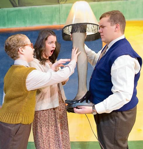 The Parker family -- Ralphie (Luke Csdoras), Mother (Katie Halpin) and The Old Man (Tony Bender) -- admires the iconic leg lamp in DeSales University's 'A Christmas Story' Nov. 28-Dec. 9.