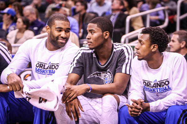 Magic players left to right Kyle O'Quinn (2), Maurice Harkless (21), and Ish Smith (10) react during first quarter action of a game against the Detroit Pistons at Amway Center in Orlando, Fla. on Wednesday November 21, 2012.