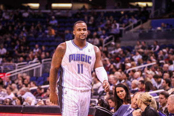 Magic forward Glen Davis (11) reacts after being called for a foul during first quarter action of a game against the Detroit Pistons at Amway Center in Orlando, Fla. on Wednesday November 21, 2012.
