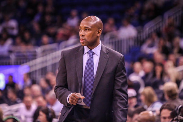 Magic coach Jacque Vaughn reacts during first quarter action of a game against the Detroit Pistons at Amway Center in Orlando, Fla. on Wednesday November 21, 2012.