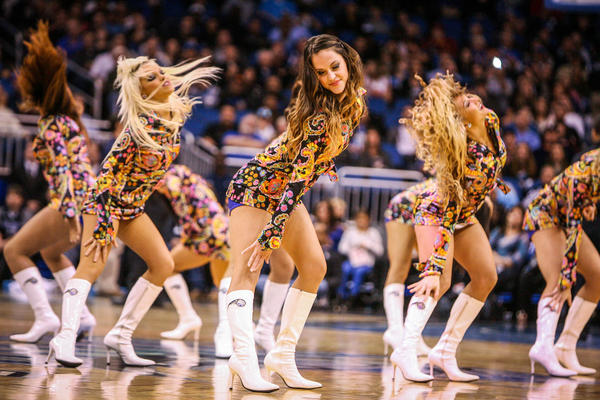 The Orlando Magic Dancers perform during fourth quarter action of a game against the Detroit Pistons at Amway Center in Orlando, Fla. on Wednesday November 21, 2012.
