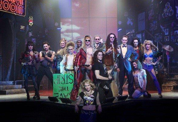 "The cast of the stage version of the musical ""Rock of Ages."" The show is set to come to the Venetian in Las Vegas in December."