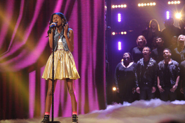 "Diamond White performs on ""The X Factor."""
