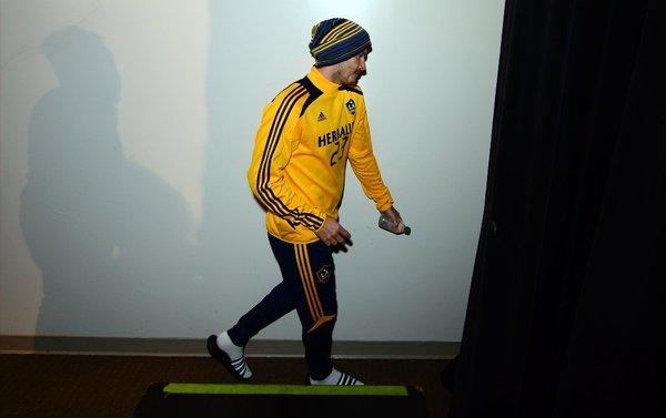 David Beckham of the Galaxy leaves after a news conference at the Home Depot Center on Nov. 20.