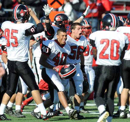Easton celebrates their victory over Phillipsburg in their football game held at Lafayette College's Fisher Field on Thanksgiving.