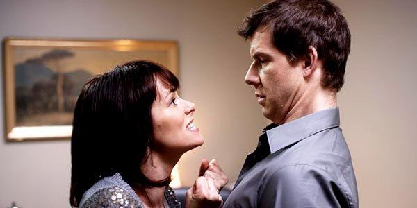 "Susan Felders (Parker Posey) and Pete Cozy (Eric Mabius) in Michael Walker's ""Price Check."""