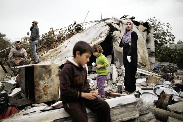Gaza Strip family assesses damage