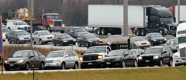Northbound traffic exiting Interstate Highway 290 at Thorndale Avenue is backed up during Tuesday's morning rush hour.
