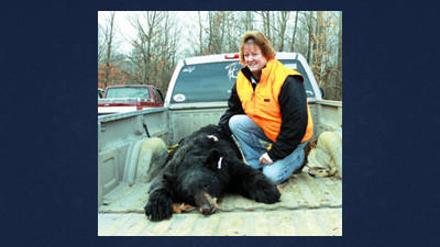 Darlene Mull shot this 228-pound male black bear Monday afternoon in Stonycreek Township. It was her first bear kill.