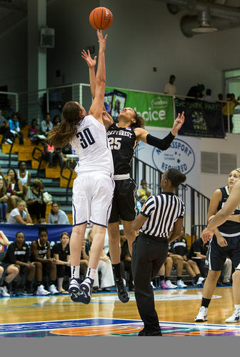UConn's Breanna Stewart tips off against Wake Forest's Dearcia Hamby to begin their game at the Paradise Jam Thursday.