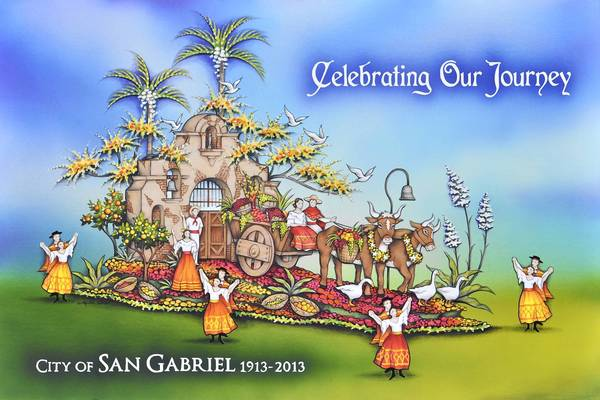 A rendering of the Rose Parade float for the city of San Gabriel.