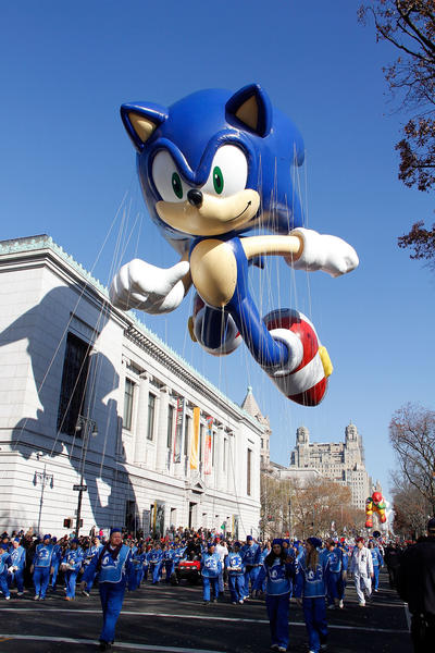 Sonic Hedgehog soars during the 86th Annual Macy's Thanksgiving Day Parade on November 22, 2012 in New York City.