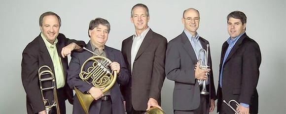 The Philadelphia Brass Quintet — from left, Robert Gale, Anthony Cecere, Scott Mendoker, Lawrence Wright and Brian Kuszyk