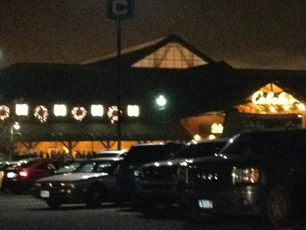 Many, many cars at Cabela's in East Hartford, opening at 5 a.m.