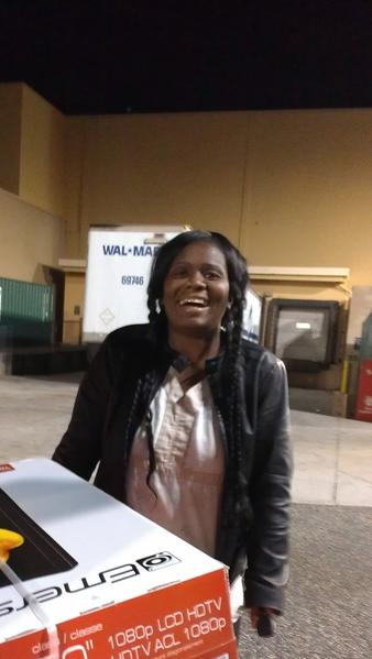 "After waiting in line for 12 hours at the Towson Walmart to get deals on 50 inch TVs, printers and a laptop, Diane Townes hadn't expected this.<br> <br> As the Owings Mills nurse shivered in the cold at 5:30 Friday morning, the Emerson TV she'd bought for $298 would not fit in her car. Walmart workers tried the trunk and back seat to no avail, then suggested she remove it from the box.<br> <br> She finally folded down her backseats and shoved it through the trunk.<br> <br> Her niece, Deshawn Moody, who'd stood in line with her and also bought a TV, had to take her large purchase out of the box and wrap it in a quilt in her own car.<br> <br> The two women and their friend said they spent the entire night in the store standing in line, talking and sipping coffee.<br> <br> ""It was worth it,"" Townes said.<br> <br> <i>--Lorraine Mirabella</i>"