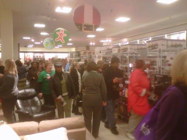 "At 6 a.m. the line that had formed outside J.C. Penney at White Marsh Mall trickled inside the store, where shoppers were after $8 kitchen appliances.<br> <br> Sherice Williams and her mother Marilyn, of Columbia, S.C., were visiting family in Baltimore but still made the annual shopping trip.<br> <br> The duo started at 8 p.m. on Thanksgiving day and stayed out shopping all night.<br> <br> ""Bargains baby,"" said Marilyn Williams. ""We do this every year to save a dollar. Not necessarily for Christmas gifts.""<br> <br> They had collected Cooks nonstick griddles for $8 but were unable to get the juicer on sale.<br> <br> Crowds packed the kitchen appliance section of the store, just inside the door. But by 6:30 a.m. most of those items on sale had sold out.<br> <br> <i>--Jessica Anderson</i>"