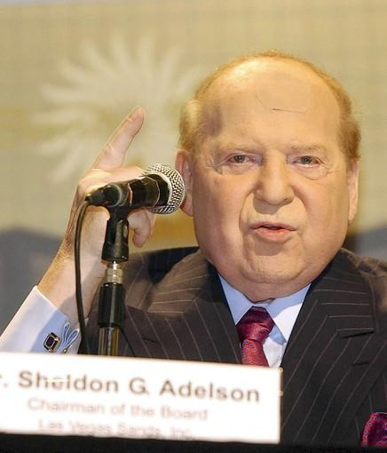 Casino mogul Sheldon Adelson was the target of a free speech protest at his Sands Casino Resort Bethlehem, where similarities to King George III were discussed.